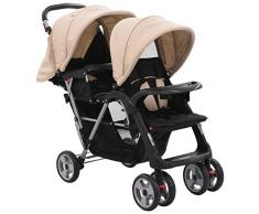 Festnight Carrito Gemelar Silla de Paseo Gemelar Carrito para Dos Bebés Tandem Plegable con Rueda Giratoria Gris Taupe y Negro de Acero