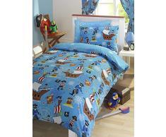 Pirata azul cama infantil con diseño de funda de edredón para niños incluye funda de almohada
