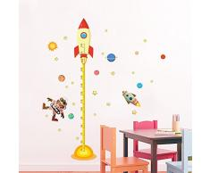 decalmile Espacio Planeta Cohete Gráfica de Altura Pegatinas de Pared Vinilos Decorativos Habitación Infantiles Guardería Niños Bebés Dormitorios