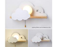 ILKJ Habitación de Niños Luz de Pared con Interruptor E27 Madera Leer Lámpara de Pared Niño Niña Dormitorio Cartoon Aplique de Pared Creativa Forma de Nube Decoracion Linterna de Pared