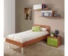 Dormitorio juvenil completo color cerezo y verde: cama 90x190cm + mesita de noche + sifonier cómoda + 2 estantes de pared (tiradores blancos transparetes)