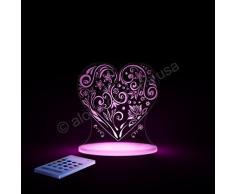 Aloka SleepyLight-Lámpara nocturna en forma de corazón con mando a distancia, para niños