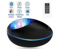 Lampara Proyector Océano Ola Bluetooth 5.0, Lámpara Proyector Infantil Luz Nocturna con 360° Rotación y 8 Música, 8 Modos, con Control Remoto y Temporizador Proyector Noche Adultos Niños Regalo