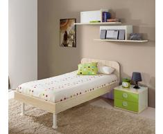 Dormitorio juvenil completo color arce y verde: cama 90x190cm + mesita de noche + sifonier cómoda + 2 estantes de pared (tiradores blancos transparentes)