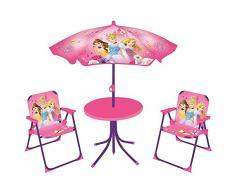 Fun House 712348 Disney Princesses salón de jardín para niños con 1 Mesa, 2 sillas y 1 sombrilla