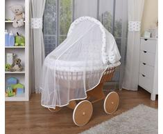 WALDIN Cuna Moisés, carretilla portabebés XXL, 44 colores a elegir,Madera/ruedas lacado,color textil blanco/estrellas-gris