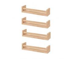 Ikea Bekvam, 4 estantes para especias de madera - cuarto del bebé - soporte de libros - niños - cocina - accesorios de baño, estante de almacenamiento organizador, color abedul, madera natural.