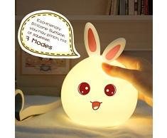 Los niños conejo de luz nocturna lámpara silicona Touch Sensor luz LED que cambia de color