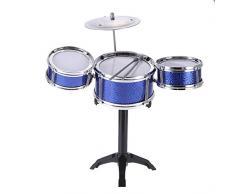 ammoon Niños Grupo de Percusión de Escritorio 3 Tambores Instrumento Musical del Juguete con los Palillos de Tambor Pequeño Platillo