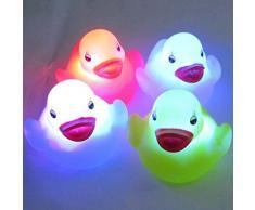 YAKO CupeBaby 4pc cambio LED impermeable pato bebé Unisex niños niños baño Ambiance lámpara nocturna