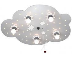 Elobra Lámpara de techo, nube con estrellas, eficiencia energética A, plata 124574