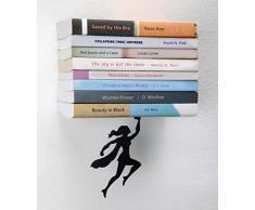 Artori Design | Wondershelf| Estante metálico flotante de superheroína en color negro | Estante para libros original | Regalo para geeks | Regalo ideal para lectores | Apilador de libros original | Regalo ideal para mujeres