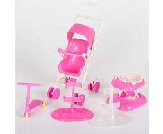 Accesorios para muñecas Set Toy Doll Accesorios para muñecas con Cochecito de bebé Walker Scooter Doll Stand para muñecas Barbie