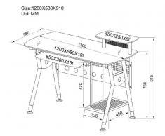 SixBros. Mesa de ordenador Vidrio/gris plateado - CT-3783/40 - Vidrio claro - Estructura gris plateado