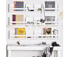 Estantería de pared infantil/estante/imágenes barra estantería blanco, Madera maciza, 150 x 25 x 15 cm