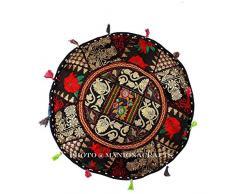 Bohemian negro Patch Work otomano Cubierta, tradicional Vintage Indian puf infantil piso/pie taburete, silla, decoración de Navidad, 100% algodón arte decoración, Handmade Pouf