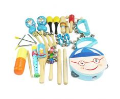 Happy cherry - (16 piezas) Juguetes de Instrumentos Musicales de Percusión madera Set Banda de música Tambor Maracas Cascabeles regalo para bebés niños niñas - Azul