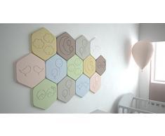Panelados - Teselado decorativo de pared para dormitorio de bebé. Motivos infantiles. Composición DIY. Autoadhesivo. 13 piezas hexagonales de 30 x 26 cm.