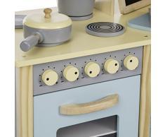 Ultrakidz - Cocina de juguete de madera natural, gran unidad de cocina con 13 accesorios de cocina