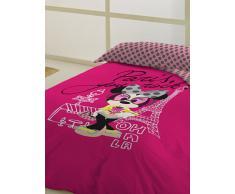 Disney Juego de Funda Nórdica Minnie París Fucsia Cama 90
