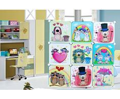 Infantil Puerta de armario de almacenaje 9 Character diseño cubos