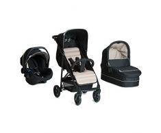 Hauck Rapid 4 Plus Trio Set - 3 en 1 carrito de bebe, Grupo 0+ adaptable a isofix, capazo, respaldo reclinable, de 0 meses a 25 kg, manillar ajustable en altura, plegado con una sola mano, negro beige