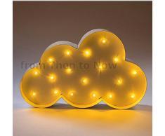 Carnaval estilo en la nube con iluminación LED lámpara de pared funciona con pilas