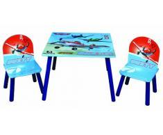 JNH Europe Disney Designs - Juego de mesa y 2 sillas infantiles (madera y tablero DM, 60 x 60 x 42 cm), diseño con impresión satinada de Dusty de Aviones