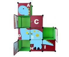 Te de Trend Niños Armario Estantería habitación de los Niños Estantería en verde con Dino Diseño