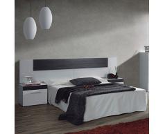HOGAR24 Conjunto Dormitorio HABITACION DE Matrimonio: CABECERO MAS Dos MESITAS Blanco Y Negro Malla