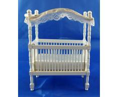 Casa De Muñecas En Miniatura 1:12 Escala Muebles De Bebé Infantiles Cuna Dosel De Madera Blanco