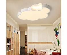 Lámpara De Techo LED, 24W, Creativo Nube Luces De Plafón 3 Colores Atenuación, Niño Acrílica Plafones, Simple Para El Hogar Iluminación Moderna Para Dormitorio, Comedor, Cocina Blanco