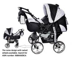 Kamil - Sistema de viaje 3 en 1, silla de paseo, carrito con capazo y silla de coche, RUEDAS ESTÁTICAS y accesorios (Sistema de viaje 3 en 1, negro, negro lunares)