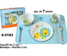 DONREGALOWEB Vajilla Infantil de Porcelana Compuesto por 7 Piezas (3 Cubiertos, Plato, Bol, Taza y Bandeja de melamina) en Color Azul. Medidas de la Bandeja: 42x30x3 cm
