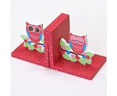 Infantil Fun Little Owls sujetalibros - estante para decorar/para la habitación del bebé en forma de cubo para rosa azul verdoso 14 x 10 cm, madera, Pink Green Blue, 14 x 14 x 10 cm