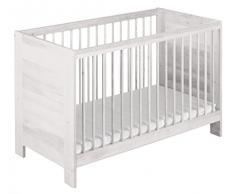 Cuna y cama para bebe Niklas 60x120 pino con acabado en blanco biológica