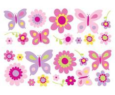 Fine Décor SA30149 Fun4Walls - Pegatinas adhesivas para pared (25 unidades), diseño de flores y mariposas