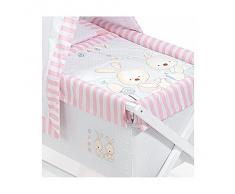 Minicuna DOSEL Plegable Conejo Baby ROSA: Estructura + Vestidura + Dosel + Colcha Desenfuntable + Colchón + Almohada