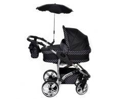 Baby Sportive - Sistema de viaje 3 en 1, silla de paseo, carrito con capazo y silla de coche, RUEDAS GIRATORIAS, parasol y accesorios, color negro, lunares