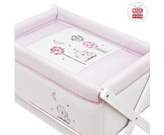 Cambrass Gufo - Minicuna con tijera de madera, color rosa
