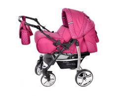 Baby Sportive - Sistema de viaje 3 en 1, silla de paseo, carrito con capazo y silla de coche, RUEDAS GIRATORIAS y accesorios, color rosa, lunares