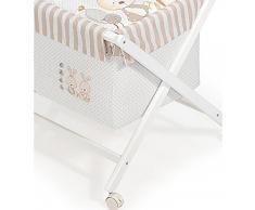 Minicuna mibebestore Plegable Conejo Baby BEIGE: Estructura + Vestidura + Colcha Desenfuntable + Colchón + Almohada
