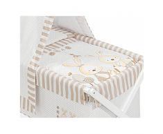 Minicuna DOSEL Plegable Conejo Baby BEIGE: Estructura + Vestidura + Dosel + Colcha Desenfuntable + Colchón + Almohada