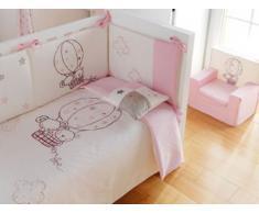 Pirulos 77011614 - Funda nórdica y funda almohadilla 100 x 135 diseño globo, color blanco y rosa