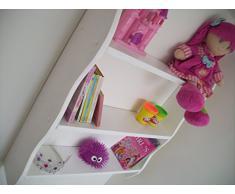 70 cm de alto y de color blanco para niños estantes, dormitorio estantes, estante, estantería, guardar juguetes, estantería para DVD.