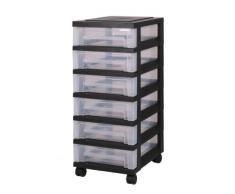 Cajón con ruedas de plástico, Cómoda con 6 cajones, contenedores negros, la cómoda de 6 cajones, Armedietto con ruedas, armario empotrado plástico, gaveta de almacenamiento - SDC-360