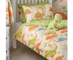 Dinosaur Boys único cama de matrimonio juego de funda de edredón y funda de almohada infantil, diseño de T-Rex Dino, color verde