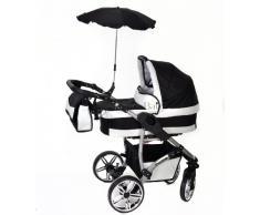 Baby Sportive Twing - Sistema de viaje 3 en 1, silla de paseo, carrito con capazo y silla de coche, RUEDAS GIRATORIAS, parasol y accesorios, color negro, blanco