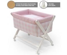 Cambrass Bebe - Minicuna de madera + dosel, 46 x 78 cm, color rosa/natural