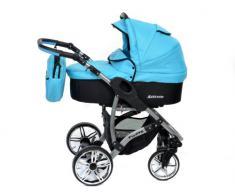 Baby Sportive Allivio - Sistema de viaje 3 en 1, silla de paseo, carrito con capazo y silla de coche, RUEDAS GIRATORIAS y accesorios, color azul celeste